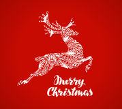 Merry Christmas greeting card. Prancing reindeer painted in a decorative style. Vector illustration Stock Images