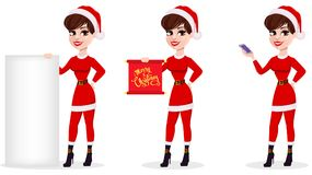 Merry Christmas greeting card. Pretty smiling woman in Santa. Merry Christmas greeting card. Pretty smiling woman in Santa Claus costume, set of three poses Royalty Free Stock Image