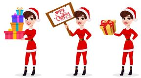 Merry Christmas greeting card. Pretty woman in Santa Claus. Merry Christmas greeting card. Pretty woman in Santa Claus costume, set of three poses. Vector Royalty Free Stock Images