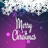 Merry Christmas greeting card in purple with snowflakes. Christmas tree for greeting card royalty free illustration
