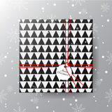 Merry Christmas greeting card. Realistic black gift box with tag Royalty Free Stock Photo