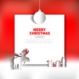 Merry Christmas greeting card  red backgronud Stock Photo