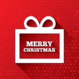 Merry Christmas greeting card on red background. Stock Photo