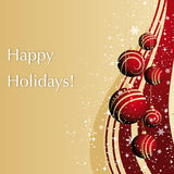 Merry Christmas greeting card with red balls Royalty Free Stock Image