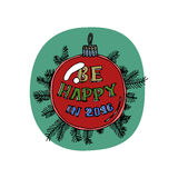 Merry Christmas greeting card. Red glass ball hanging on pine branch isolated on green background. Cartoon style. Vector Stock Photos