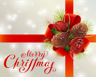 Merry Christmas. Greeting card with red ribbon, fir cones, branches and rose. Illustration in vector format Stock Image