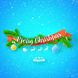Merry Christmas greeting card with red ribbon, xmas tree and snow on blue background.  Royalty Free Stock Photography