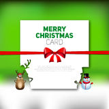 Merry Christmas greeting card with reindeer and snowman,  Royalty Free Stock Photo