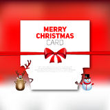 Merry Christmas greeting card with reindeer and snowman  Stock Images