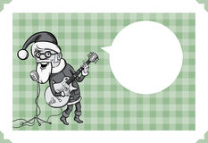 Merry Christmas greeting card with rock-n-roll Santa-singing Stock Photo