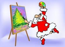 Merry christmas greeting card. Santa artist. Stock Photography