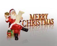 Merry Christmas greeting card Santa Claus. Image and illustration composition of Santa Claus reading his list sitting on Christmas presents with 3D text for Stock Photo
