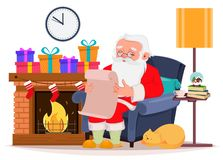 Merry Christmas greeting card with Santa Claus. Cartoon character sitting at home near fireplace and reading letter from children. Vector illustration on white royalty free illustration