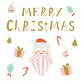 Merry Christmas greeting card with Santa Claus. royalty free stock images