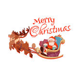 Merry Christmas greeting card with Santa Claus on. Sledge with deers. Vector illustration Royalty Free Stock Photo