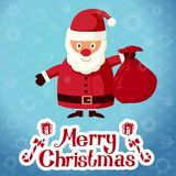 Merry Christmas greeting card - Santa Claus. Santa Claus standing with sack of presents. Vector Royalty Free Stock Image