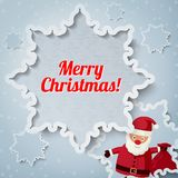 Merry Christmas greeting card - Santa Claus. Santa Claus standing with sack of presents. Vector Stock Photos