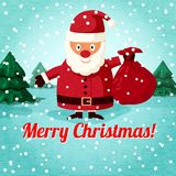Merry Christmas greeting card - Santa Claus. Santa Claus standing on the snowy landscape with sack of presents. Vector Stock Images