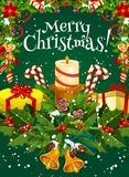 Merry Christmas vector holiday wish greeting card stock illustration