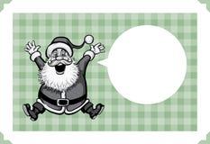 Merry Christmas greeting card with Santa jumping joy Royalty Free Stock Photos