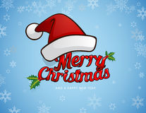 Merry christmas greeting card with Santa`s hat. And fancy Merry Christmas test Stock Image