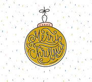 Merry Christmas greeting card. Season vector holiday poster template. Handwritten text royalty free illustration