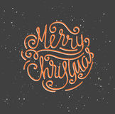 Merry Christmas greeting card. Season vector holiday poster template. Handwritten text stock illustration