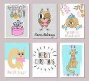Merry Christmas greeting card set with cute cat, squirrel, owl, gift and other elements. Cute Hand drawn holiday cards and invitat Royalty Free Stock Photography