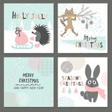 Merry Christmas greeting card set with cute hedgehog, cat, rabbit and other elements Royalty Free Stock Image