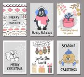 Merry Christmas greeting card set with cute penguin, bear, gift, balls and other elements. Cute Hand drawn holiday cards and invit Royalty Free Stock Photo