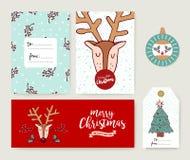 Christmas card template holiday deer cartoon set Stock Photos