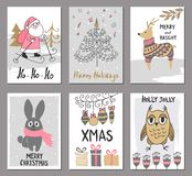 Merry Christmas greeting card set with cute santa, tree, deer, rabbit, owl and other elements. Cute Hand drawn holiday cards and i Royalty Free Stock Photos