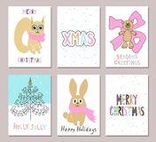 Merry Christmas greeting card set with cute squirrel, bear, tree, rabbit and other elements. Cute Hand drawn holiday cards and inv Stock Photo