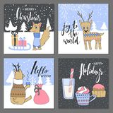 Merry Christmas greeting card set with cute squirrel, deer, candy and other elements. Cute Hand drawn holiday cards and invitation. S royalty free illustration