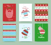 Merry Christmas greeting card set with winter hat, sweater, bear Stock Image
