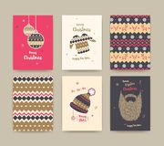 Merry Christmas greeting card set with winter hat, sweater, bear Royalty Free Stock Photography