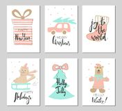 Merry Christmas greeting card set with cute xmas tree, bear, cat on a sleigh, socks, car and gift. Royalty Free Stock Photo