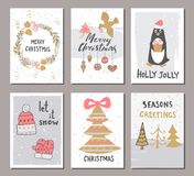 Merry Christmas greeting card set with cute xmas tree, gloves, hat, penguin and other elements. Cute Hand drawn holiday cards and Stock Photography