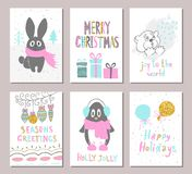 Merry Christmas greeting card set with cute xmas tree, rabbit, penguin, bear, balloons, gifts and other elements. Cute Hand drawn Stock Photo