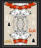 Merry Christmas greeting card set with cute xmas tree, santa and deer retro designs. Includes holiday themed seamless. Hand drawn vector abstract Christmas Stock Images