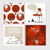 Merry Christmas greeting card set Stock Photo
