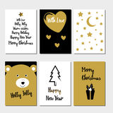 Merry Christmas greeting card set Royalty Free Stock Photo