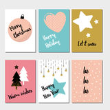 Merry Christmas greeting card set Royalty Free Stock Images