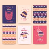 Merry Christmas greeting card set with winter hat, sweater, bear Stock Photo