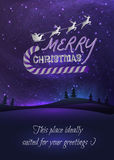 Merry Christmas greeting card with shiny stars in. Night skies, xmas tree forest and flying santa. Vector Illustration for artwork, party flyers, posters royalty free illustration