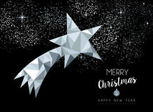 Merry christmas greeting card with silver star Stock Photos