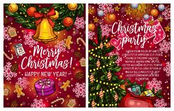 Christmas lights garland vector sketch greeting. Merry Christmas greeting card sketch design of Christmas tree lights garland and Santa presents gift. Vector New Royalty Free Stock Photography
