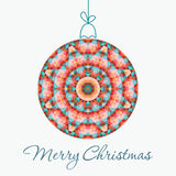Merry Christmas Greeting Card. With snowball made of triangles . Geometric shape snowball. Vector illustration.  Holiday design. Winter Stock Photo