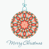 Merry Christmas Greeting Card. With snowball made of triangles . Geometric shape snowball. Vector illustration.  Holiday design. Winter Royalty Free Stock Image