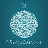 Merry Christmas Greeting Card. With snowball made of triangles . Geometric shape snowball. Vector illustration.  Holiday design. Winter Royalty Free Stock Photo